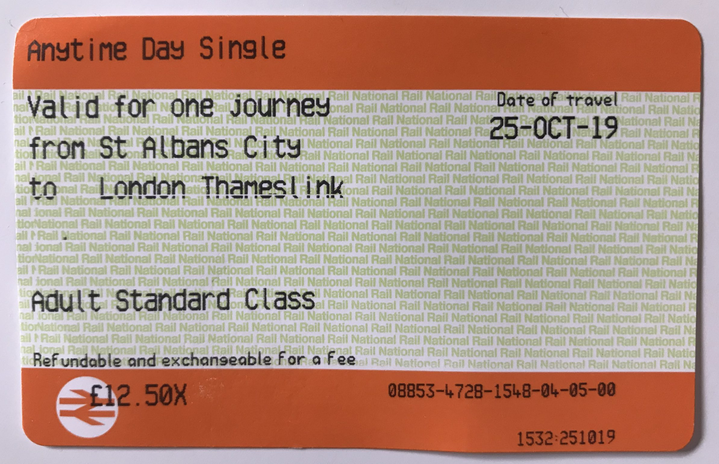 Anytime Day Single Ticket of National Rail