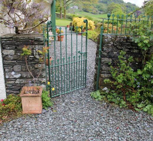 a green gate at Castle Cottage