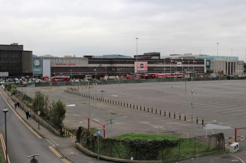 Brent Cross Shopping Centre from a bridge on the North Circular Road