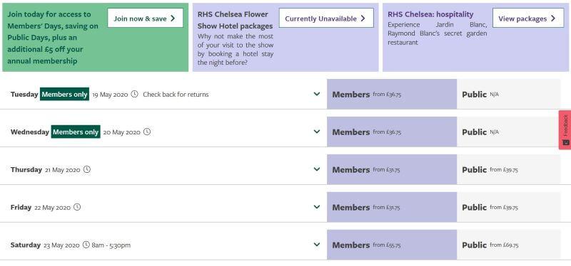 Chelsea Flower Show ticket site