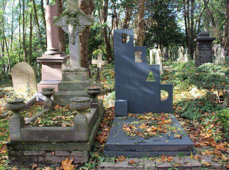 The tomb of Patrick Caulfield at Highgate Cemetery East