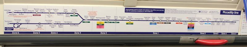 Piccadilly Line Map in tube