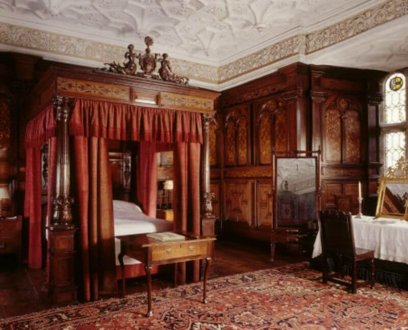 The Inlaid Chamber showing inlaid state bed at Sizergh Castle, Cumbria