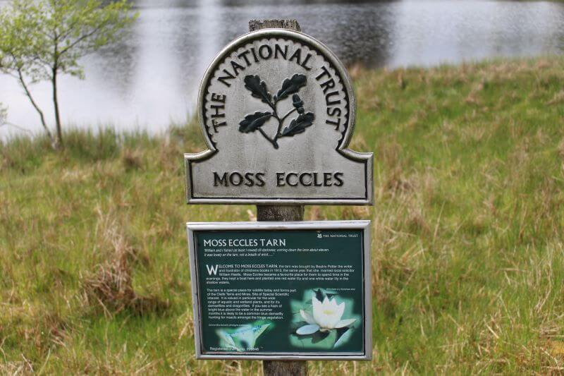 The sign of National Trust at Moss Eccles Tarn