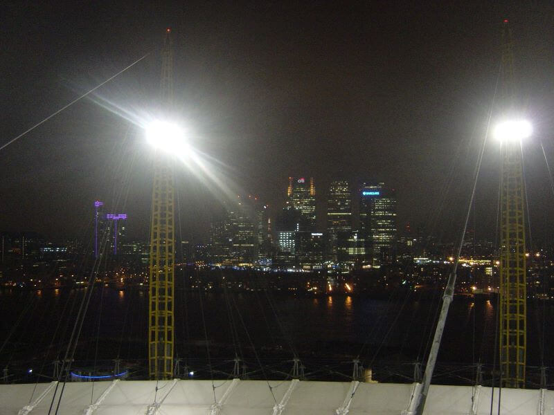 Canary Wharf from the roof of the O2