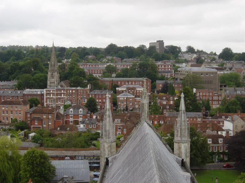 view from the top of the tower at Winchester Cathedral