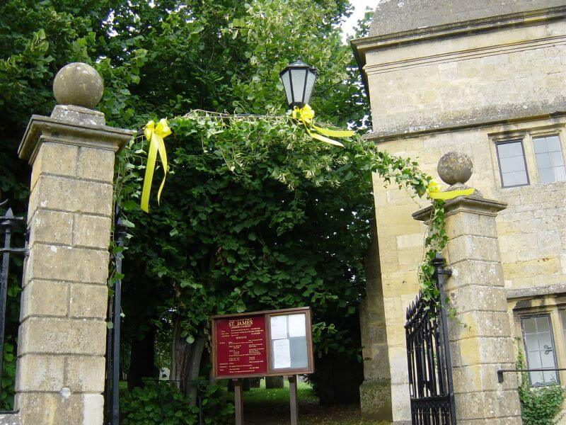Wedding ribbons at St Jame's Church, Chipping Campden