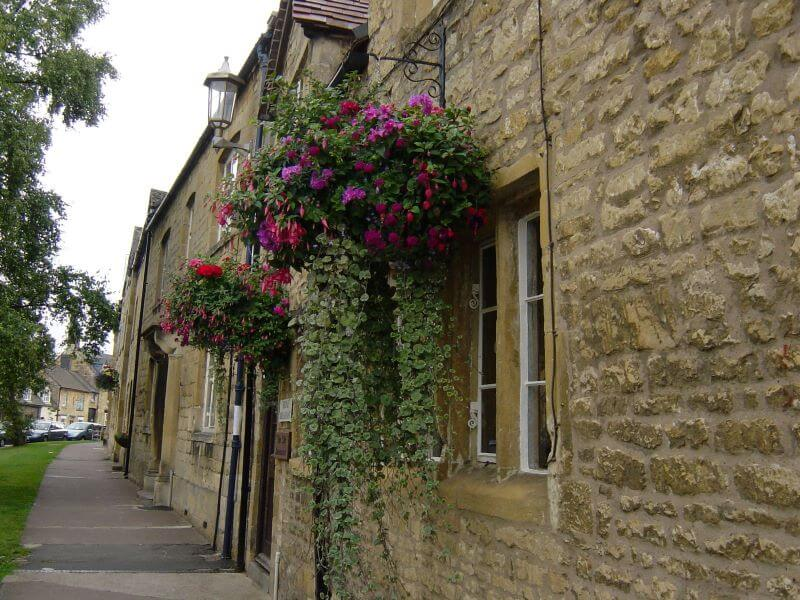 Hanging flowers at Chipping Campden