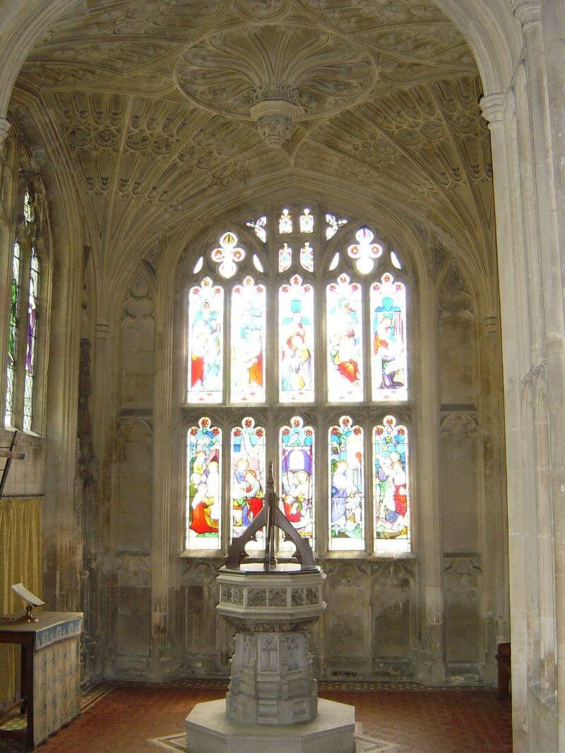 vaulted ceiling and a font at St Lawrence's Church, Evesham