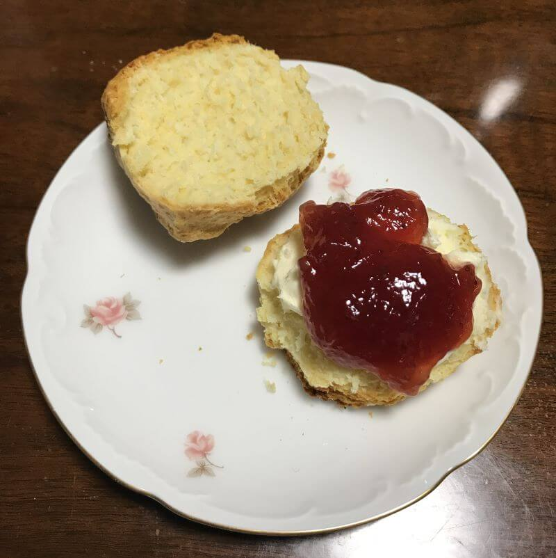 jam and clotted cream on scone
