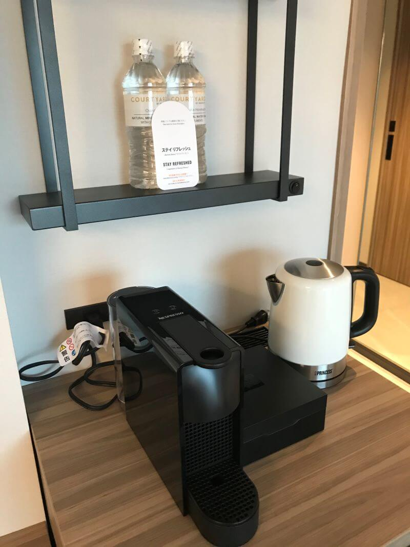coffee machine and a pot at Courtyard by Marriott Osaka Hommachi