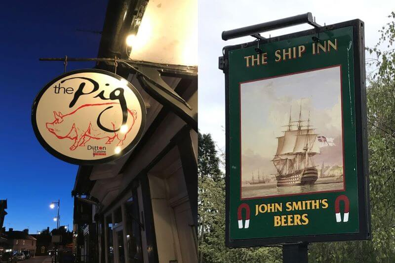 Pub signs of the Pig and the Ship Inn
