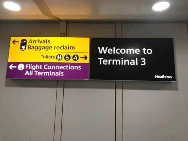 Terminal 3 sign t Heathrow Airport